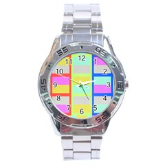 Maximum Color Rainbow Red Blue Yellow Grey Pink Plaid Flag Stainless Steel Analogue Watch