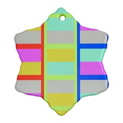 Maximum Color Rainbow Red Blue Yellow Grey Pink Plaid Flag Ornament (Snowflake)