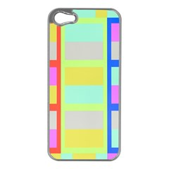Maximum Color Rainbow Red Blue Yellow Grey Pink Plaid Flag Apple iPhone 5 Case (Silver)