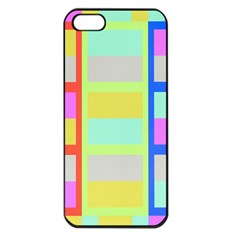 Maximum Color Rainbow Red Blue Yellow Grey Pink Plaid Flag Apple iPhone 5 Seamless Case (Black)
