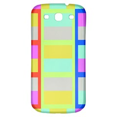 Maximum Color Rainbow Red Blue Yellow Grey Pink Plaid Flag Samsung Galaxy S3 S III Classic Hardshell Back Case
