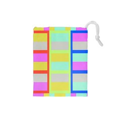 Maximum Color Rainbow Red Blue Yellow Grey Pink Plaid Flag Drawstring Pouches (Small)