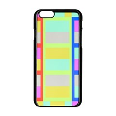 Maximum Color Rainbow Red Blue Yellow Grey Pink Plaid Flag Apple iPhone 6/6S Black Enamel Case