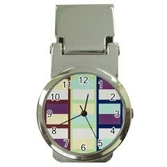 Maximum Color Rainbow Brown Blue Purple Grey Plaid Flag Money Clip Watches