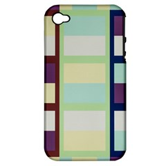 Maximum Color Rainbow Brown Blue Purple Grey Plaid Flag Apple iPhone 4/4S Hardshell Case (PC+Silicone)