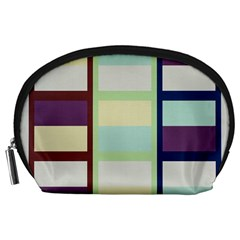 Maximum Color Rainbow Brown Blue Purple Grey Plaid Flag Accessory Pouches (Large)