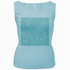 Leaf Blue Women s Baby Blue Tank Top