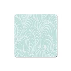 Leaf Blue Square Magnet