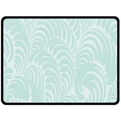 Leaf Blue Fleece Blanket (Large)
