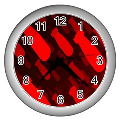 Missile Rockets Red Wall Clocks (silver)