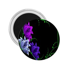 Neon Flowers Floral Rose Light Green Purple White Pink Sexy 2 25  Magnets