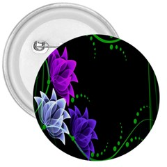 Neon Flowers Floral Rose Light Green Purple White Pink Sexy 3  Buttons
