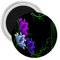 Neon Flowers Floral Rose Light Green Purple White Pink Sexy 3  Magnets