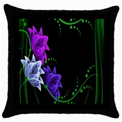 Neon Flowers Floral Rose Light Green Purple White Pink Sexy Throw Pillow Case (Black)