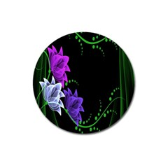 Neon Flowers Floral Rose Light Green Purple White Pink Sexy Magnet 3  (Round)