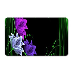 Neon Flowers Floral Rose Light Green Purple White Pink Sexy Magnet (rectangular)