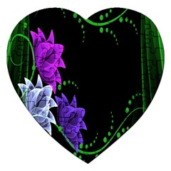 Neon Flowers Floral Rose Light Green Purple White Pink Sexy Jigsaw Puzzle (Heart)