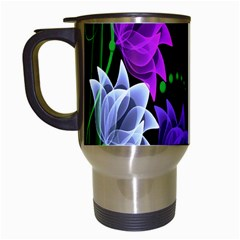Neon Flowers Floral Rose Light Green Purple White Pink Sexy Travel Mugs (white)
