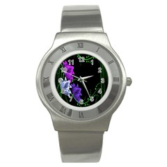 Neon Flowers Floral Rose Light Green Purple White Pink Sexy Stainless Steel Watch