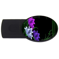 Neon Flowers Floral Rose Light Green Purple White Pink Sexy USB Flash Drive Oval (4 GB)