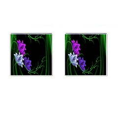 Neon Flowers Floral Rose Light Green Purple White Pink Sexy Cufflinks (square)