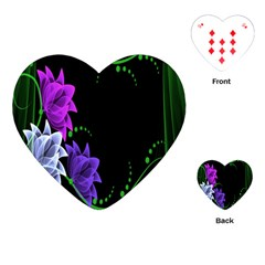 Neon Flowers Floral Rose Light Green Purple White Pink Sexy Playing Cards (Heart)