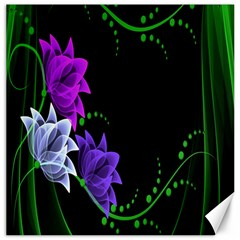 Neon Flowers Floral Rose Light Green Purple White Pink Sexy Canvas 12  x 12