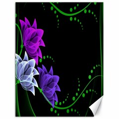Neon Flowers Floral Rose Light Green Purple White Pink Sexy Canvas 18  x 24