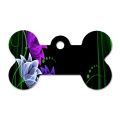 Neon Flowers Floral Rose Light Green Purple White Pink Sexy Dog Tag Bone (two Sides)