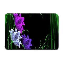 Neon Flowers Floral Rose Light Green Purple White Pink Sexy Small Doormat