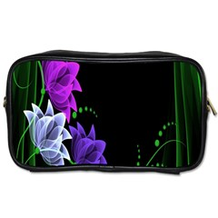 Neon Flowers Floral Rose Light Green Purple White Pink Sexy Toiletries Bags