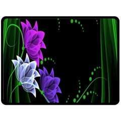 Neon Flowers Floral Rose Light Green Purple White Pink Sexy Fleece Blanket (Large)