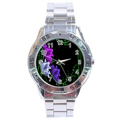 Neon Flowers Floral Rose Light Green Purple White Pink Sexy Stainless Steel Analogue Watch