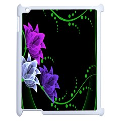 Neon Flowers Floral Rose Light Green Purple White Pink Sexy Apple iPad 2 Case (White)