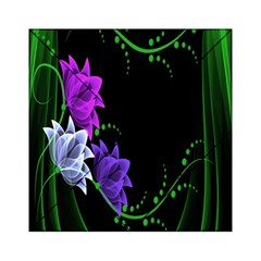 Neon Flowers Floral Rose Light Green Purple White Pink Sexy Acrylic Tangram Puzzle (6  x 6 )