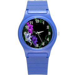 Neon Flowers Floral Rose Light Green Purple White Pink Sexy Round Plastic Sport Watch (S)