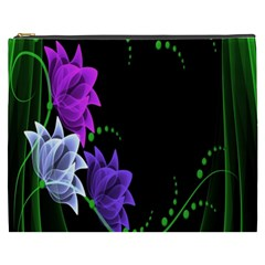 Neon Flowers Floral Rose Light Green Purple White Pink Sexy Cosmetic Bag (xxxl)