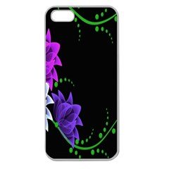 Neon Flowers Floral Rose Light Green Purple White Pink Sexy Apple Seamless iPhone 5 Case (Clear)