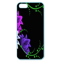 Neon Flowers Floral Rose Light Green Purple White Pink Sexy Apple Seamless iPhone 5 Case (Color)