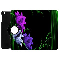 Neon Flowers Floral Rose Light Green Purple White Pink Sexy Apple iPad Mini Flip 360 Case