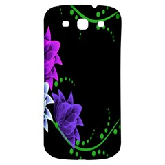 Neon Flowers Floral Rose Light Green Purple White Pink Sexy Samsung Galaxy S3 S III Classic Hardshell Back Case