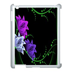 Neon Flowers Floral Rose Light Green Purple White Pink Sexy Apple iPad 3/4 Case (White)