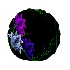 Neon Flowers Floral Rose Light Green Purple White Pink Sexy Standard 15  Premium Round Cushions