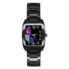 Neon Flowers Floral Rose Light Green Purple White Pink Sexy Stainless Steel Barrel Watch