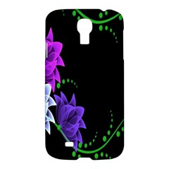 Neon Flowers Floral Rose Light Green Purple White Pink Sexy Samsung Galaxy S4 I9500/I9505 Hardshell Case