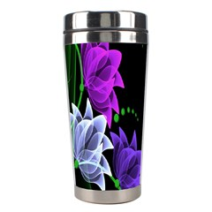 Neon Flowers Floral Rose Light Green Purple White Pink Sexy Stainless Steel Travel Tumblers