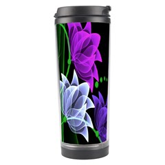 Neon Flowers Floral Rose Light Green Purple White Pink Sexy Travel Tumbler