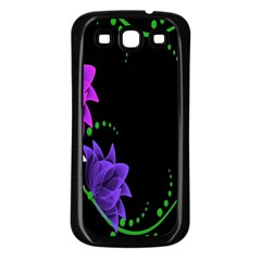 Neon Flowers Floral Rose Light Green Purple White Pink Sexy Samsung Galaxy S3 Back Case (Black)