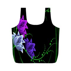 Neon Flowers Floral Rose Light Green Purple White Pink Sexy Full Print Recycle Bags (M)