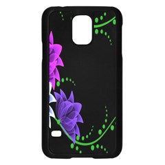 Neon Flowers Floral Rose Light Green Purple White Pink Sexy Samsung Galaxy S5 Case (Black)